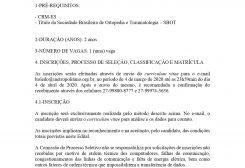 EDITAL DO PROCESSO SELETIVO PARA ESPECIALIZAÇÃO EM CIRURGIA DA COLUNA VERTEBRAL (2020 A 2022)